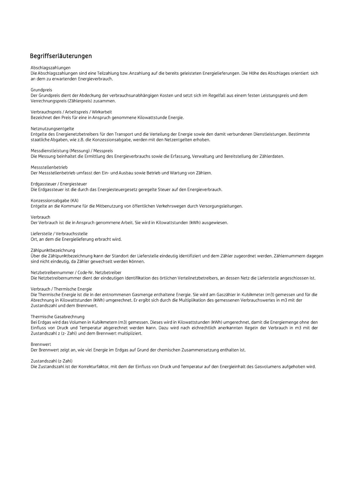 Musterrechnung Gas Stadtwerke Müllheim Staufen
